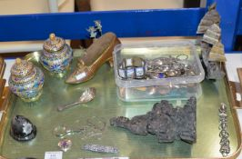 TRAY WITH LARGE SHOE PIN CUSHION, WHITE METAL JUNK BOAT DISPLAY, PAIR OF CLOISONNÉ LIDDED JARS,