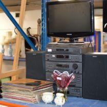 SONY TWIN SPEAKER HIFI SYSTEM, SMALL SAMSUNG LCD TV & SMALL QUANTITY LP RECORDS