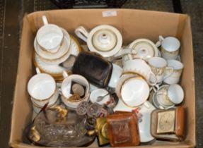 BOX WITH QUANTITY TEA WARE, TRAVEL CLOCKS, DECORATIVE BOWL, COINS ETC