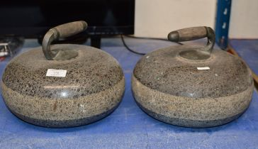 PAIR OF CURLING STONES WITH HANDLES