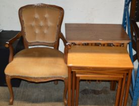 MAHOGANY BEDROOM CHAIR & 2 NESTS OF TEAK TABLES