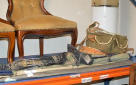 VARIOUS FISHING RODS WITH LANDING NET, BAG, VARIOUS TACKLE ETC