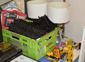 TRAY & BOX WITH MODEL VEHICLES, MODEL FORKLIFT TRUCKS, AMERICAN FOOTBALL MEMORABILIA, SCALEXTRIC