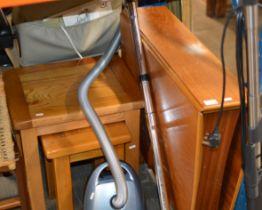 TEAK GATE LEG TABLE & NEST OF 3 MODERN TABLES