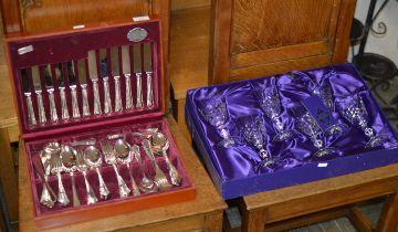BOXED SET OF 6 EDINBURGH CRYSTAL STEM GLASSES & CANTEEN OF CUTLERY
