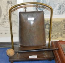 ORIENTAL STYLE GONG ON STAND WITH BEATER