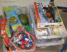HORNBY TRAIN SET IN BOX & 3 BOXES WITH VARIOUS LEGO, TOYS, GAMES ETC