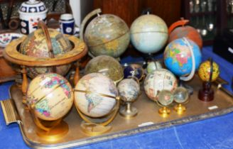 TRAY WITH ASSORTED WORLD GLOBES