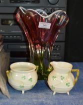 COLOURED GLASS VASE & BELLEEK SUGAR & CREAM