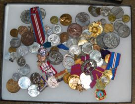 DISPLAY CASE WITH VARIOUS MEDALS & MEDALLIONS