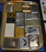 TRAY WITH VARIOUS CIGARETTE CASES INCLUDING SILVER EXAMPLES