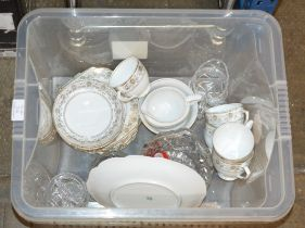 BOX WITH QUANTITY VARIOUS TEA WARE & CRYSTAL WARE