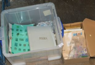 BOX WITH ASSORTED STAMPS, VARIOUS LOOSE STAMPS, POLISH STAMPS IN ALBUM ETC