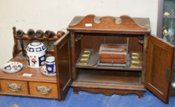 OAK SMOKERS CABINET & OAK PIPE STAND WITH VARIOUS PIPES