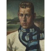 § JAMES MCINTOSH PATRICK R.S.A., R.O.I., A.R.E., L.L.D (SCOTTISH 1907-1998) THE STRIPED SCARF -