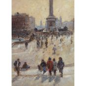 § TONY FORREST (BRITISH CONTEMPORARY) VIEW ACROSS TRAFALGAR SQUARE FROM NATIONAL GALLERY