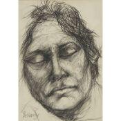 § JOHN BELLANY C.B.E., R.A. (SCOTTISH 1942-2013) PORTRAIT STUDY: SLEEPING