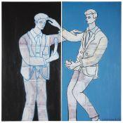 § ADRIAN WISZNIEWSKI (SCOTTISH B.1958) BLACK AND BLUE (DIPTYCH)