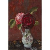 § MARY NICOL NEILL ARMOUR R.S.A., R.S.W (SCOTTISH 1902-2000) STILL LIFE WITH RED AND PINK ROSES -
