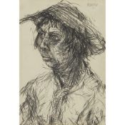 § JOHN BELLANY C.B.E., R.A. (SCOTTISH 1942-2013) PORTRAIT STUDY: WOMAN IN A HAT, POSSIBLY THE
