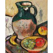 ◆ GEORGE LESLIE HUNTER (SCOTTISH 1877-1931) A STILL-LIFE OF FRUIT AND GREEN JUG
