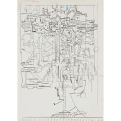 § EDUARDO PAOLOZZI K.B.E., R.A., H.R.S.A. (SCOTTISH 1924-2005) DRAWING WITH BLUE ELEMENTS