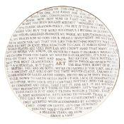 § GRAYSON PERRY O.B.E., R.A. (BRITISH B.1960) '100% ART' PLATE - 2020