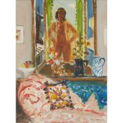 § DAVID MCCLURE R.S.A., R.S.W. (SCOTTISH 1926-1998) GIRL IN A MIRROR WITH PATTERNED SOFA - 1981