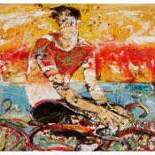 § PETER MCLAREN (SCOTTISH B.1964) FIGURE IN A HOT LANDSCAPE