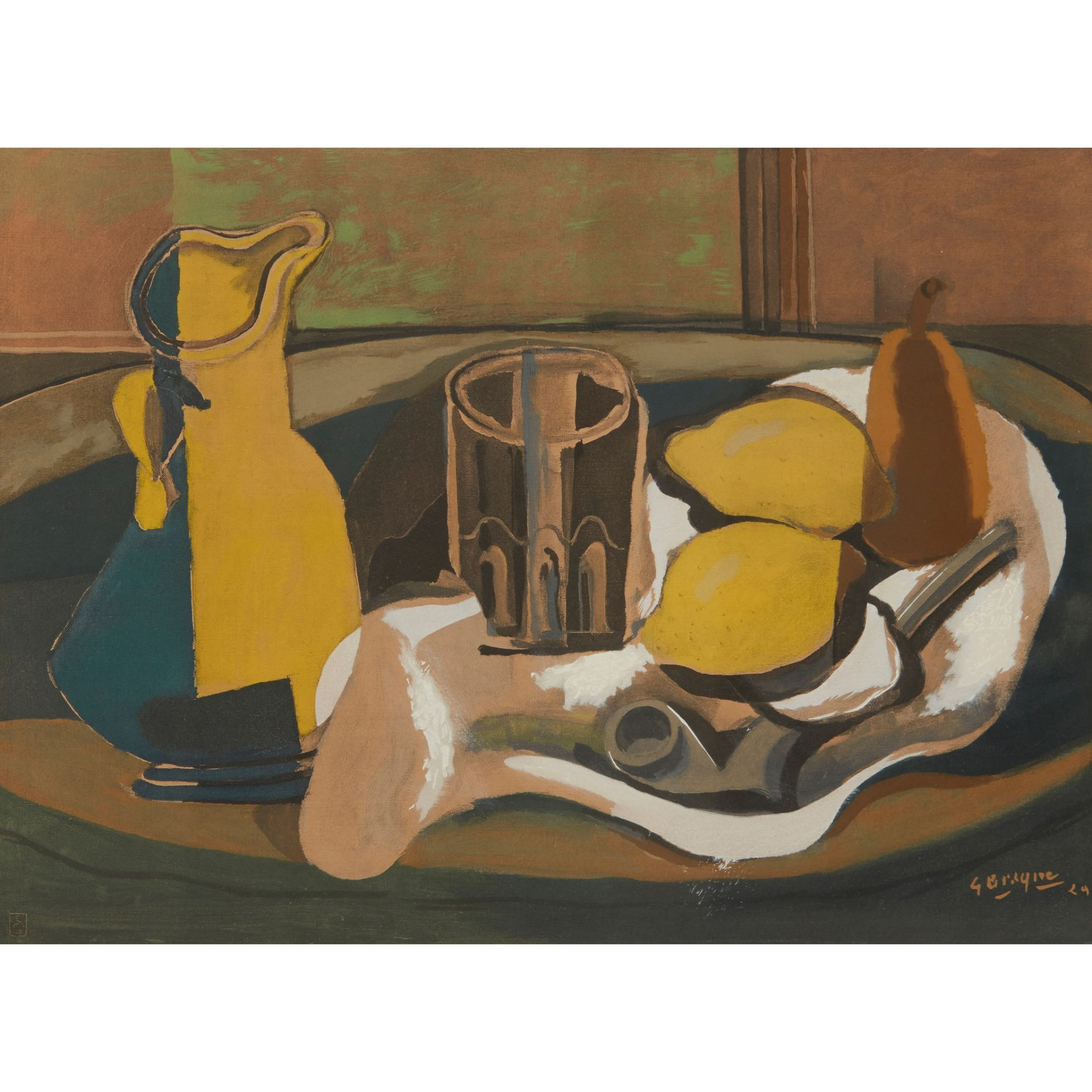 § GEORGES BRAQUE (FRENCH 1882-1963), AFTER STILL-LIFE WITH TWO LEMONS AND A PIPE - Image 2 of 4