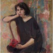 § KATHRYN KYNOCH R.G.I. (SCOTTISH b.1942-) YOUNG WOMAN WITH A FLOWER