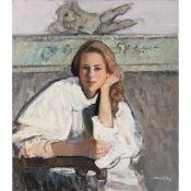 § DAVID DONALDSON R.S.A., R.P., L.L.D. (SCOTTISH 1936-1996) PORTRAIT OF A YOUNG LADY