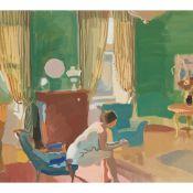 § ALEXANDER GOUDIE (SCOTTISH 1933-2004) NUDE IN GREEN DRAWING-ROOM