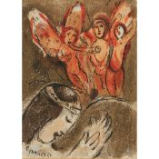 § MARC CHAGALL (RUSSIAN/FRENCH 1887-1985) SARAH AND THE THREE ANGELS - 'FROM 'DRAWINGS FOR THE