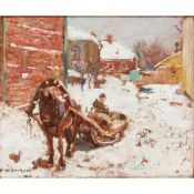 FREDERICK WILLIAM JACKSON R.B.A (BRITISH 1859-1918) HORSE DRAWN SLED IN THE SNOW RUSSIA