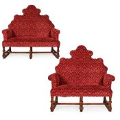PAIR OF WILLIAM AND MARY STYLE SOFAS LATE 19TH CENTURY