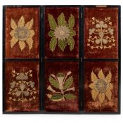 VICTORIAN COLONIAL INDIA INTEREST, VELVET EMBROIDERED THREE FOLD FLOOR SCREEN CIRCA 187Os