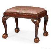 GEORGE II STYLE MAHOGANY AND PARCEL GILT STOOL 19TH CENTURY
