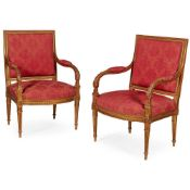 PAIR OF LOUIS XVI STYLE GILTWOOD FAUTEUILS 19TH CENTURY