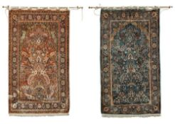 TWO SIMILAR HEREKE SILK PRAYER RUGS WEST ANATOLIA, LATE 20TH CENTURY