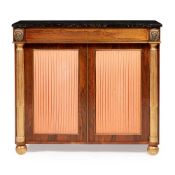 Y REGENCY ROSEWOOD, GILT, AND BRASS INLAID SIDE CABINET EARLY 19TH CENTURY