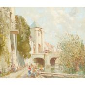 § William Lee-Hankey R.W.S. (1869-1952) Wash-day in a French riverside town