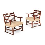 PAIR OF GEORGE III MAHOGANY NORTH COUNTRY 'DRUNKARD'S' ARMCHAIRS LATE 18TH CENTURY