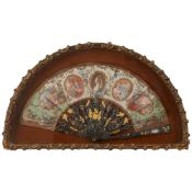 Y FRENCH CASED PAINTED TORTOISESHELL AND ABALONE FAN 18TH CENTURY