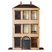 SCRATCH BUILT DOLL'S HOUSE, STABLE, AND CONTENTS 19TH CENTURY