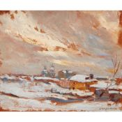 FREDERICK WILLIAM JACKSON R.B.A (BRITISH 1859-1918) A WINTER LANDSCAPE WITH DISTANT CUPOLAS, RUSSIA