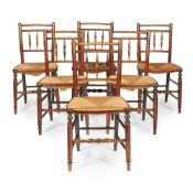 SET OF SIX ASH RUSH SEATED CHAIRS EARLY 19TH CENTURY
