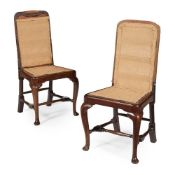 PAIR OF GEORGE I MAHOGANY SIDE CHAIRS EARLY 18TH CENTURY