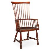 SCOTTISH DARVEL ELM AND BIRCH COMB BACK WINDSOR ARMCHAIR MID 19TH CENTURY