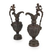 PAIR OF FRENCH RENAISSANCE STYLE BRONZE EWERS 19TH CENTURY